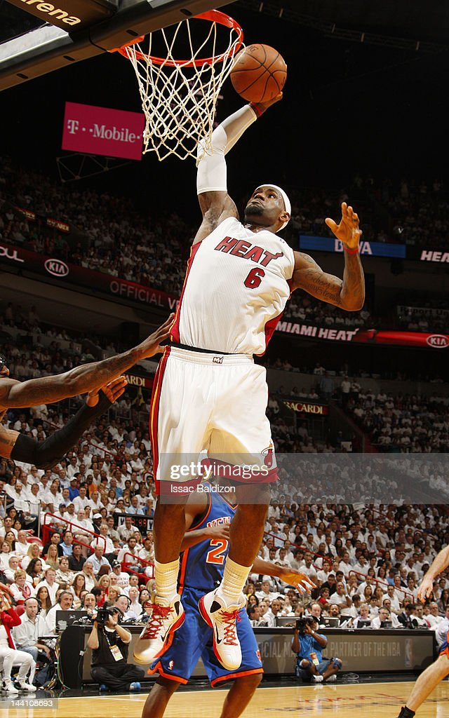 <a gi-track='captionPersonalityLinkClicked' href=/galleries/search?phrase=LeBron+James&family=editorial&specificpeople=201474 ng-click='$event.stopPropagation()'>LeBron James</a> #6 of the Miami Heat goes to the basket for a dunk against the New York Knicks in Game Five of the Eastern Conference Quarterfinals during the 2012 NBA Playoffs on May 9, 2012 at American Airlines Arena in Miami, Florida.