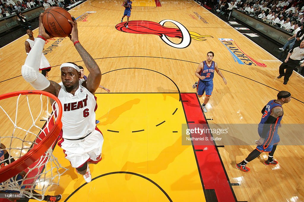 LeBron James #6 of the Miami Heat goes to the basket for a dunk in Game Two of the Eastern Conference Quarterfinals against the New York Knicks during the 2012 NBA Playoffs on April 30, 2012 at American Airlines Arena in Miami, Florida.