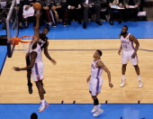 LeBron James of the Miami Heat goes up for a dunk against Serge Ibaka of the Oklahoma City Thunder in the first half in Game Two of the 2012 NBA...
