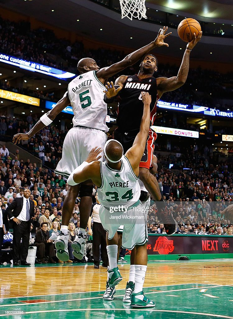 LeBron James #6 of the Miami Heat goes up for a layup in front of Paul Pierce #34 of the Boston Celtics during the game on January 27, 2013 at TD Garden in Boston, Massachusetts.