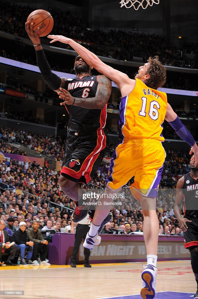 LeBron James #6 of the Miami Heat goes up for a shot against Pau Gasol #16 of the Los Angeles Lakers at Staples Center on January 15, 2013 in Los Angeles, California.