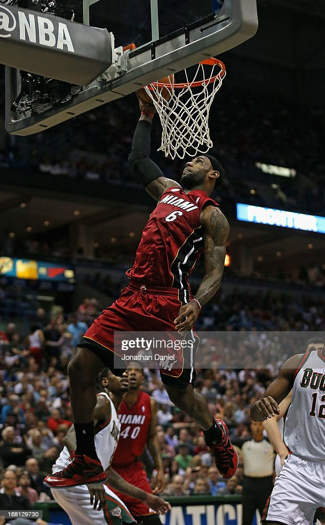 <a gi-track='captionPersonalityLinkClicked' href=/galleries/search?phrase=LeBron+James&family=editorial&specificpeople=201474 ng-click='$event.stopPropagation()'>LeBron James</a> #6 of the Miami Heat goes up for a shot against the Milwaukee Bucks in Game Four of the Eastern Conference Quarterfinals during the 2013 NBA Playoffs at the Bradley Center on April 28, 2013 in Milwaukee, Wisconsin. The Heat defeated the Bucks 88-77.