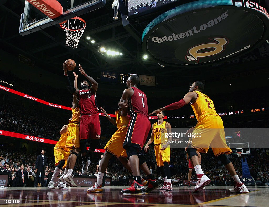 LeBron James #6 of the Miami Heat goes up for the shot against the Cleveland Cavaliers at The Quicken Loans Arena on March 20, 2013 in Cleveland, Ohio.