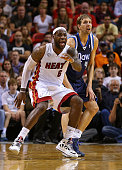 LeBron James of the Miami Heat guards Dirk Nowitzki of the Dallas Mavericks during a game at American Airlines Arena on January 2 2013 in Miami...