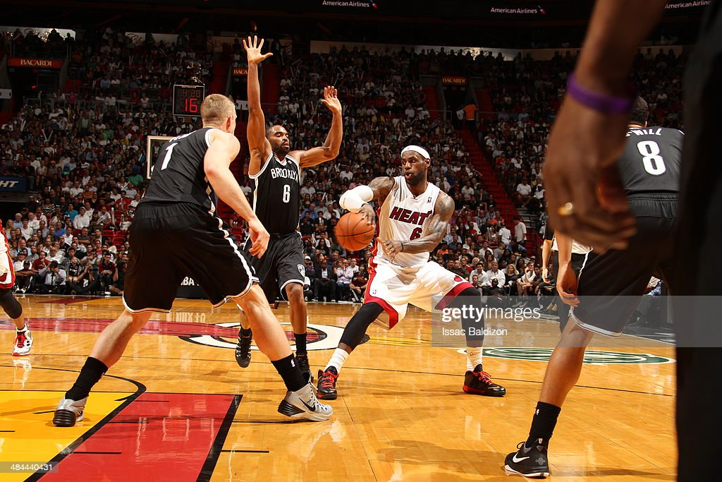 LeBron James #6 of the Miami Heat handles the ball against the Brooklyn Nets at the American Airlines Arena in Miami, Florida on April, 8 2014.