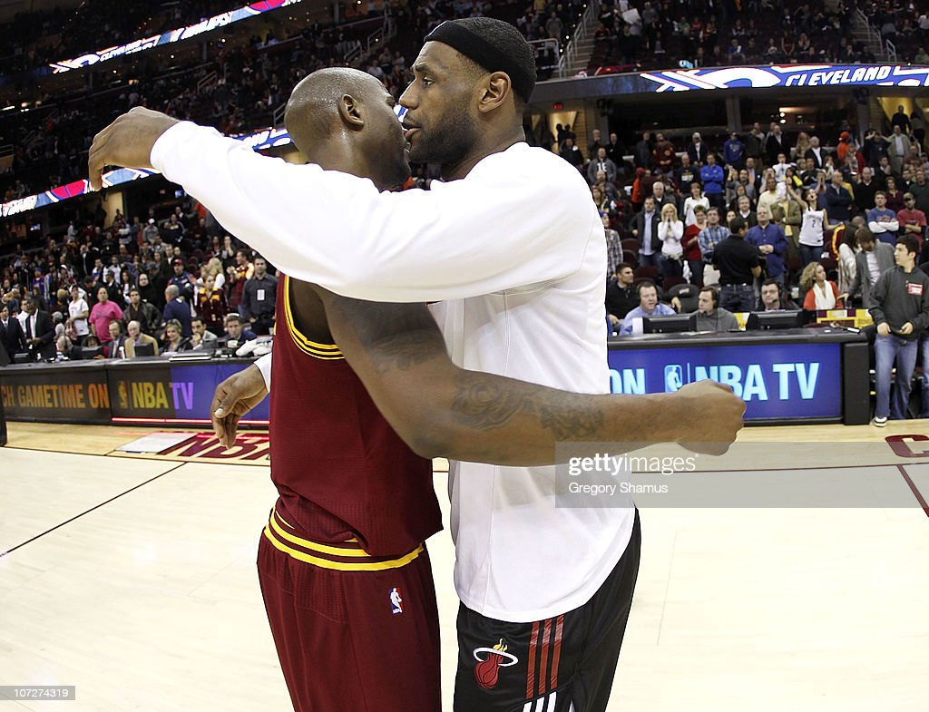<a gi-track='captionPersonalityLinkClicked' href=/galleries/search?phrase=LeBron+James&family=editorial&specificpeople=201474 ng-click='$event.stopPropagation()'>LeBron James</a> #6 of the Miami Heat hugs <a gi-track='captionPersonalityLinkClicked' href=/galleries/search?phrase=Jawad+Williams&family=editorial&specificpeople=200696 ng-click='$event.stopPropagation()'>Jawad Williams</a> after a 118-90 victory over the Cleveland Cavaliers at Quicken Loans Arena on December 2, 2010 in Cleveland, Ohio.