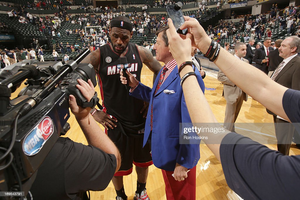 <a gi-track='captionPersonalityLinkClicked' href=/galleries/search?phrase=LeBron+James&family=editorial&specificpeople=201474 ng-click='$event.stopPropagation()'>LeBron James</a> #6 of the Miami Heat is being interviewed during Game Three of the Eastern Conference Finals between the Miami Heat and the Indiana Pacers during the 2013 NBA Playoffs on May 26, 2013 at Bankers Life Fieldhouse in Indianapolis, Indiana.