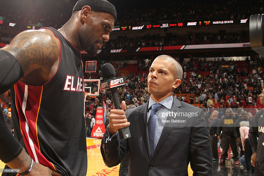 LeBron James #6 of the Miami Heat is getting interviewed after winning the game between the Orlando Magic and the Miami Heat on March 6, 2013 at American Airlines Arena in Miami, Florida.