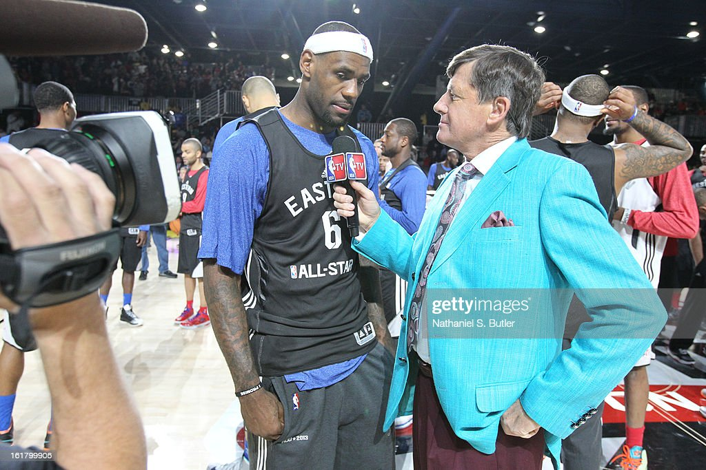 LeBron James #6 of the Miami Heat is interviewed by Craig Sager of the TNT during the NBA All-Star Practice in Sprint Arena at Jam Session at Jam Session during NBA All Star Weekend on February 16, 2013 at the George R. Brown in Houston, Texas.