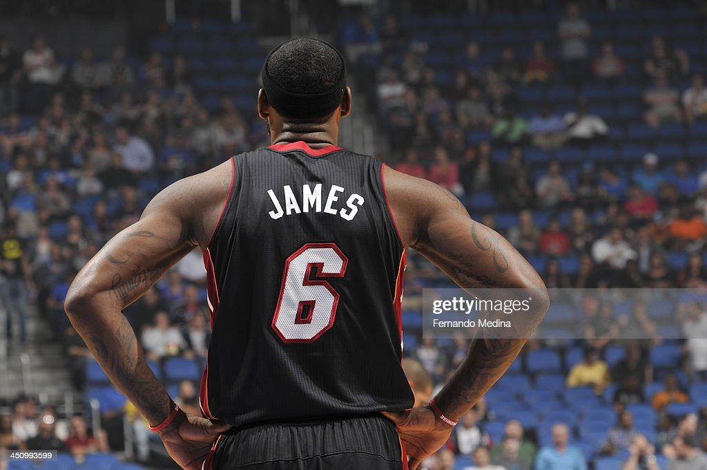 <a gi-track='captionPersonalityLinkClicked' href=/galleries/search?phrase=LeBron+James&family=editorial&specificpeople=201474 ng-click='$event.stopPropagation()'>LeBron James</a> #6 of the Miami Heat looks on against the Orlando Magic during the game on November 20, 2013 at Amway Center in Orlando, Florida.