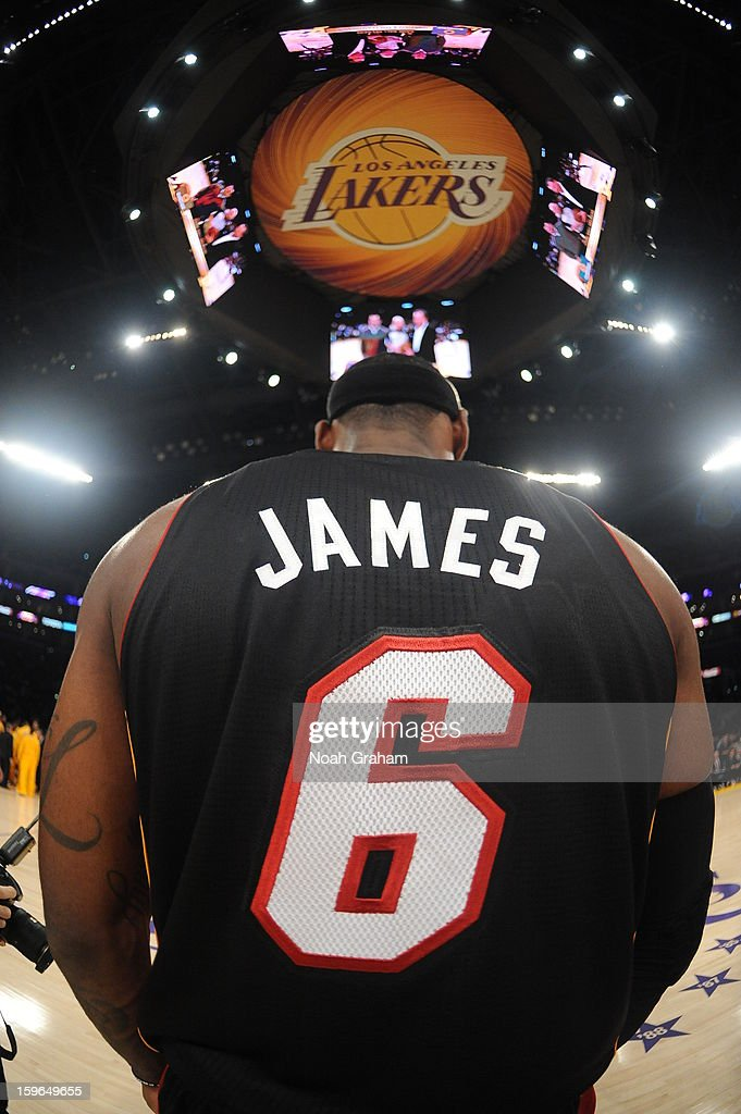 LeBron James #6 of the Miami Heat looks on before taking on the Los Angeles Lakers at Staples Center on January 15, 2013 in Los Angeles, California.