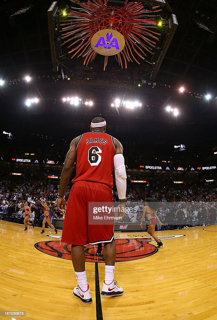 <a gi-track='captionPersonalityLinkClicked' href=/galleries/search?phrase=LeBron+James&family=editorial&specificpeople=201474 ng-click='$event.stopPropagation()'>LeBron James</a> #6 of the Miami Heat looks on during a game against the Los Angeles Clippers at American Airlines Arena on February 8, 2013 in Miami, Florida.