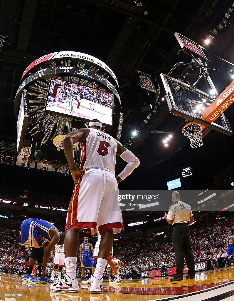 <a gi-track='captionPersonalityLinkClicked' href=/galleries/search?phrase=LeBron+James&family=editorial&specificpeople=201474 ng-click='$event.stopPropagation()'>LeBron James</a> #6 of the Miami Heat looks on during a game against the Golden State Warriors at American Airlines Arena on December 12, 2012 in Miami, Florida.