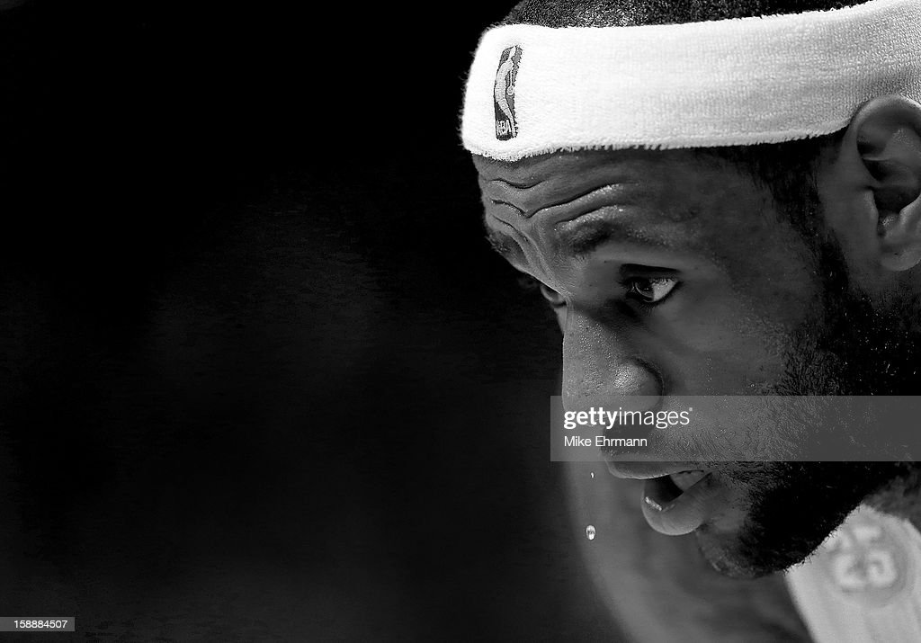 LeBron James #6 of the Miami Heat looks on during a game against the Dallas Mavericks at American Airlines Arena on January 2, 2013 in Miami, Florida.