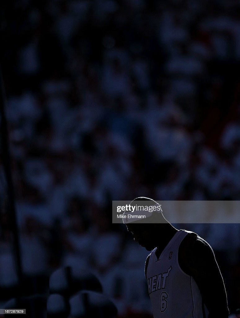 LeBron James #6 of the Miami Heat looks on during Game 2 of the Eastern Conference Quarterfinals of the 2013 NBA Playoffs against the Milwaukee Bucksat American Airlines Arena on April 23, 2013 in Miami, Florida.