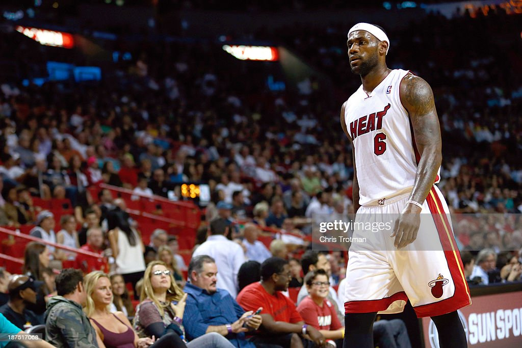 LeBron James #6 of the Miami Heat looks on during the game against the Boston Celtics at American Airlines Arena on November 9, 2013 in Miami, Florida.