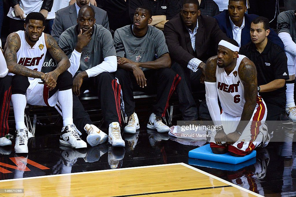 <a gi-track='captionPersonalityLinkClicked' href=/galleries/search?phrase=LeBron+James&family=editorial&specificpeople=201474 ng-click='$event.stopPropagation()'>LeBron James</a> #6 of the Miami Heat looks on from the bench late in the fourth quarter against the Oklahoma City Thunder in Game Four of the 2012 NBA Finals on June 19, 2012 at American Airlines Arena in Miami, Florida.