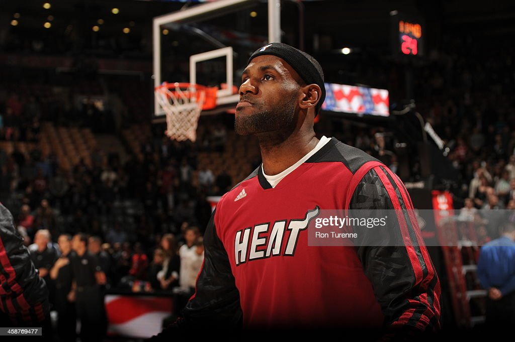 <a gi-track='captionPersonalityLinkClicked' href=/galleries/search?phrase=LeBron+James&family=editorial&specificpeople=201474 ng-click='$event.stopPropagation()'>LeBron James</a> #6 of the Miami Heat looks on prior to the game against the Toronto Raptors on November 5, 2013 at the Air Canada Centre in Toronto, Ontario, Canada.