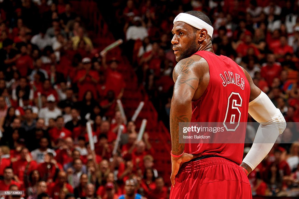 <a gi-track='captionPersonalityLinkClicked' href=/galleries/search?phrase=LeBron+James&family=editorial&specificpeople=201474 ng-click='$event.stopPropagation()'>LeBron James</a> #6 of the Miami Heat looks on while playing against the Oklahoma City Thunder during a Christmas Day game on December 25, 2012 at American Airlines Arena in Miami, Florida.