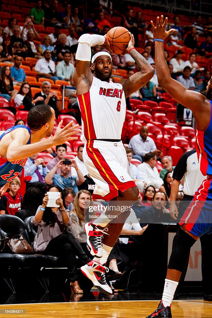<a gi-track='captionPersonalityLinkClicked' href=/galleries/search?phrase=LeBron+James&family=editorial&specificpeople=201474 ng-click='$event.stopPropagation()'>LeBron James</a> #6 of the Miami Heat looks to pass the ball against the Detroit Pistons during a pre-season game on October 18, 2012 at American Airlines Arena in Miami, Florida.