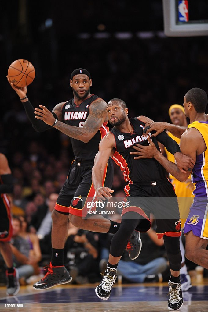 LeBron James #6 of the Miami Heat looks to pass to teammate Dwyane Wade #3 in their game against the Los Angeles Lakers at Staples Center on January 15, 2013 in Los Angeles, California.