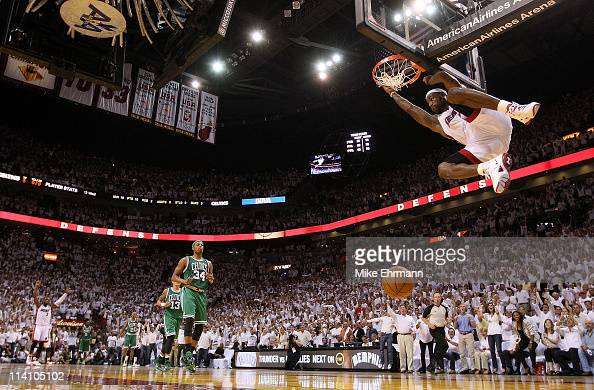 LeBron James of the Miami Heat makes a late 4th quarter dunk during Game Five of the Eastern Conference Semifinals of the 2011 NBA Playoffs against...
