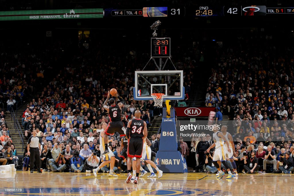 LeBron James #6 of the Miami Heat makes a shot, passing the 20,000 point career milestone, during a game against the Golden State Warriors on January 16, 2013 at Oracle Arena in Oakland, California.
