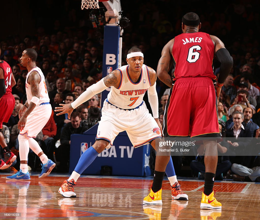 LeBron James #6 of the Miami Heat plays offense against Carmelo Anthony #7 of the New York Knicks on March 3, 2013 at Madison Square Garden in New York City.