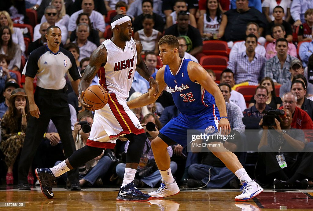 <a gi-track='captionPersonalityLinkClicked' href=/galleries/search?phrase=LeBron+James&family=editorial&specificpeople=201474 ng-click='$event.stopPropagation()'>LeBron James</a> #6 of the Miami Heat posts up <a gi-track='captionPersonalityLinkClicked' href=/galleries/search?phrase=Blake+Griffin+-+Basketball+Player&family=editorial&specificpeople=4216010 ng-click='$event.stopPropagation()'>Blake Griffin</a> #32 of the Los Angeles Clippers during a game at AmericanAirlines Arena on November 7, 2013 in Miami, Florida.