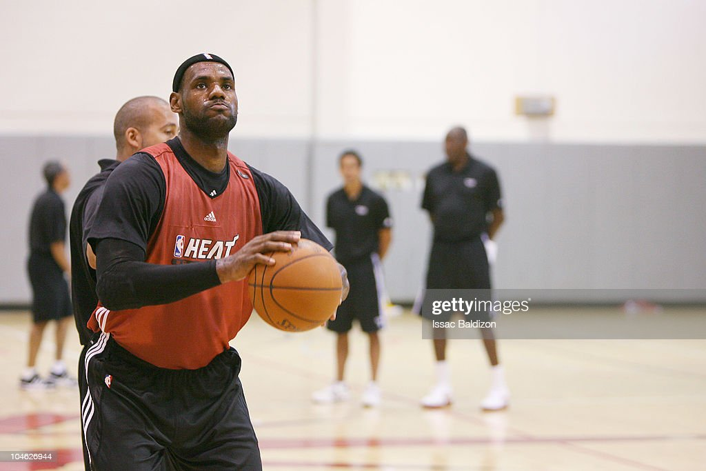 <a gi-track='captionPersonalityLinkClicked' href=/galleries/search?phrase=LeBron+James&family=editorial&specificpeople=201474 ng-click='$event.stopPropagation()'>LeBron James</a> of the Miami Heat practices during training camp on October 1, 2010 at Aderholt Gym in Hurlburt Field, Florida.