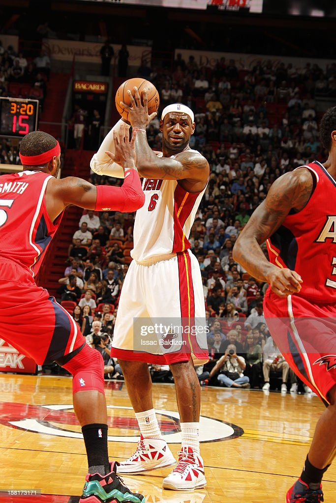 LeBron James #6 of the Miami Heat protects the ball during a game between the Atlanta Hawks and the Miami Heat on December 10, 2012 at American Airlines Arena in Miami, Florida.