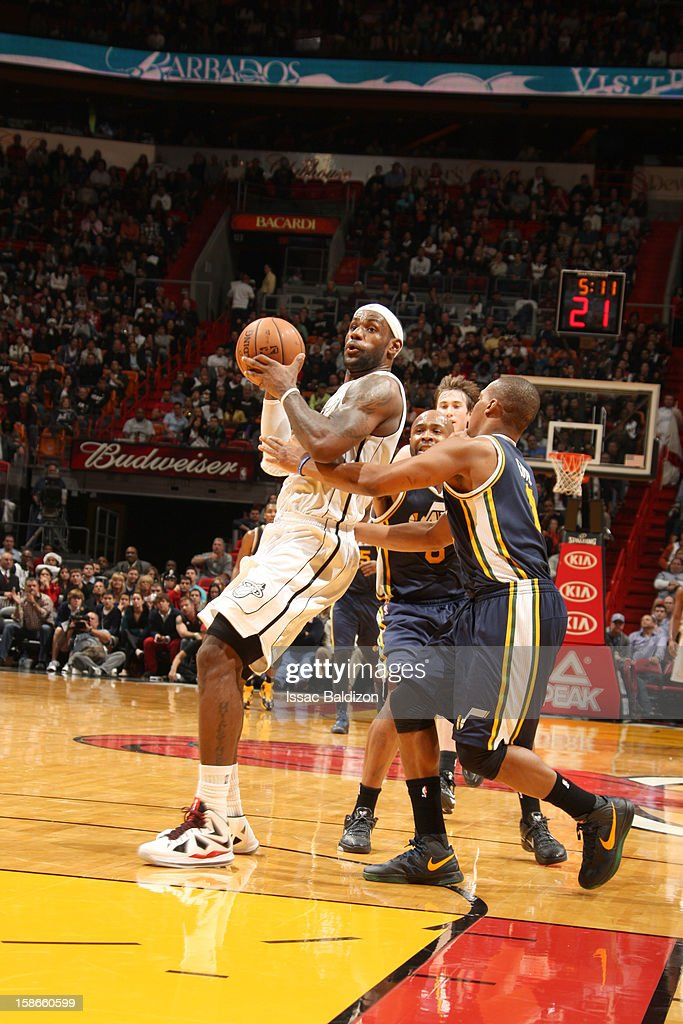 <a gi-track='captionPersonalityLinkClicked' href=/galleries/search?phrase=LeBron+James&family=editorial&specificpeople=201474 ng-click='$event.stopPropagation()'>LeBron James</a> #6 of the Miami Heat protects the ball during the game between the Utah Jazz and the Miami Heat on December 22, 2012 at American Airlines Arena in Miami, Florida.