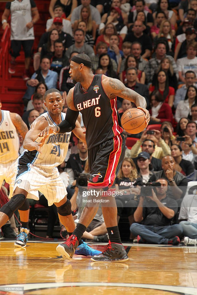 LeBron James #6 of the Miami Heat protects the ball during the game between the Orlando Magic and the Miami Heat on March 6, 2013 at American Airlines Arena in Miami, Florida.