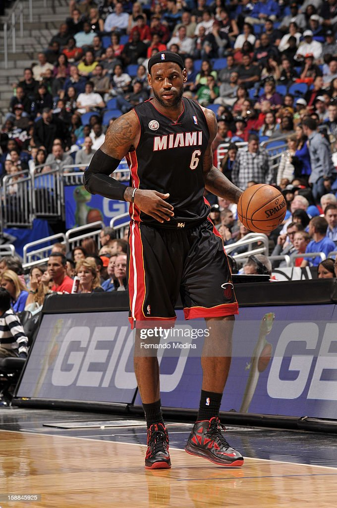 LeBron James #6 of the Miami Heat pushes the ball up the floor against the Orlando Magic during the game on December 31, 2012 at Amway Center in Orlando, Florida.