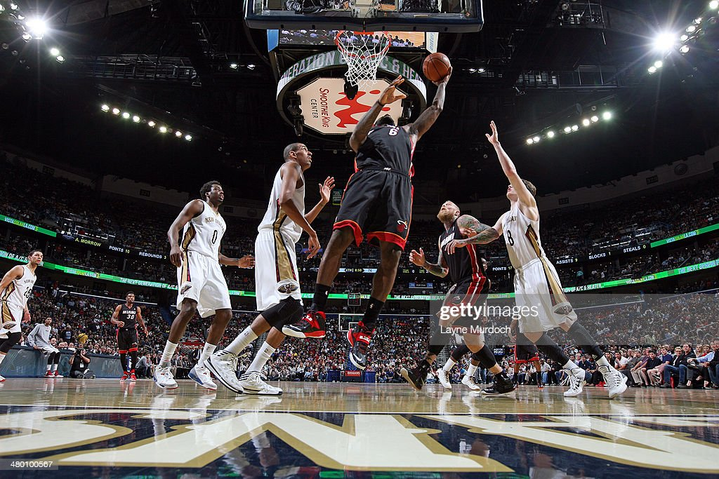 LeBron James #6 of the Miami Heat puts up a shot against the New Orleans Pelicans on March 22, 2014 at the Smoothie King Center in New Orleans, Louisiana.