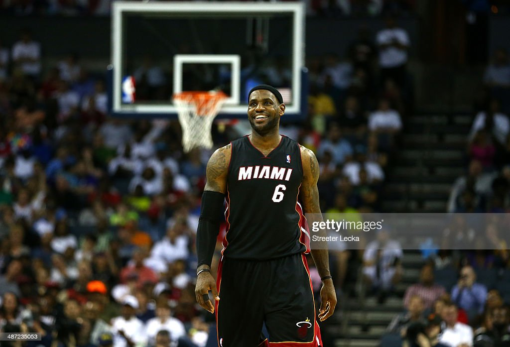 LeBron James #6 of the Miami Heat reacts after defeating the Charlotte Bobcats 109-98 in Game Four of the Eastern Conference Quarterfinals during the 2014 NBA Playoffs at Time Warner Cable Arena on April 28, 2014 in Charlotte, North Carolina.