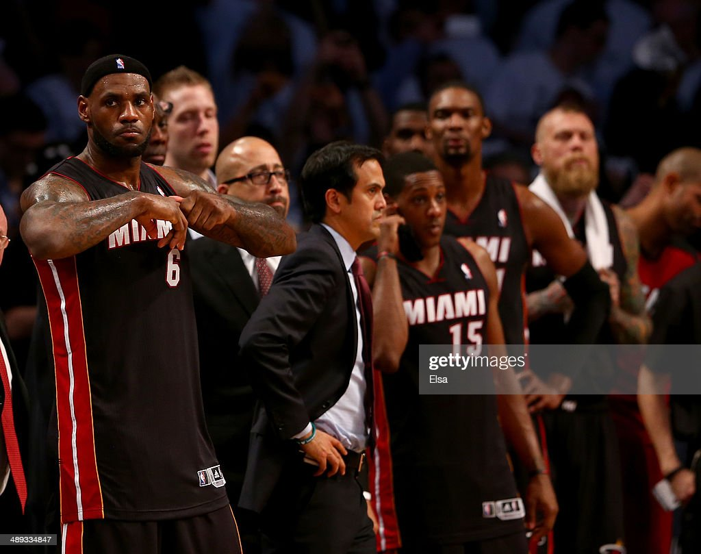 <a gi-track='captionPersonalityLinkClicked' href=/galleries/search?phrase=LeBron+James&family=editorial&specificpeople=201474 ng-click='$event.stopPropagation()'>LeBron James</a> #6 of the Miami Heat reacts after Game Three of the Eastern Conference Semifinals during the 2014 NBA Playoffs at the Barclays Center on May 10, 2014 in the Brooklyn borough of New York City. The Brooklyn Nets defeated the Miami Heat 104-90.