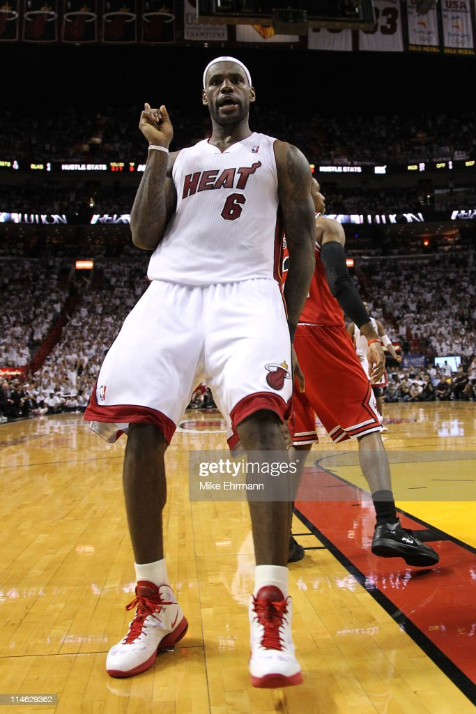 LeBron James #6 of the Miami Heat reacts in the second half against the Chicago Bulls in Game Four of the Eastern Conference Finals during the 2011 NBA Playoffs on May 24, 2011 at American Airlines Arena in Miami, Florida.