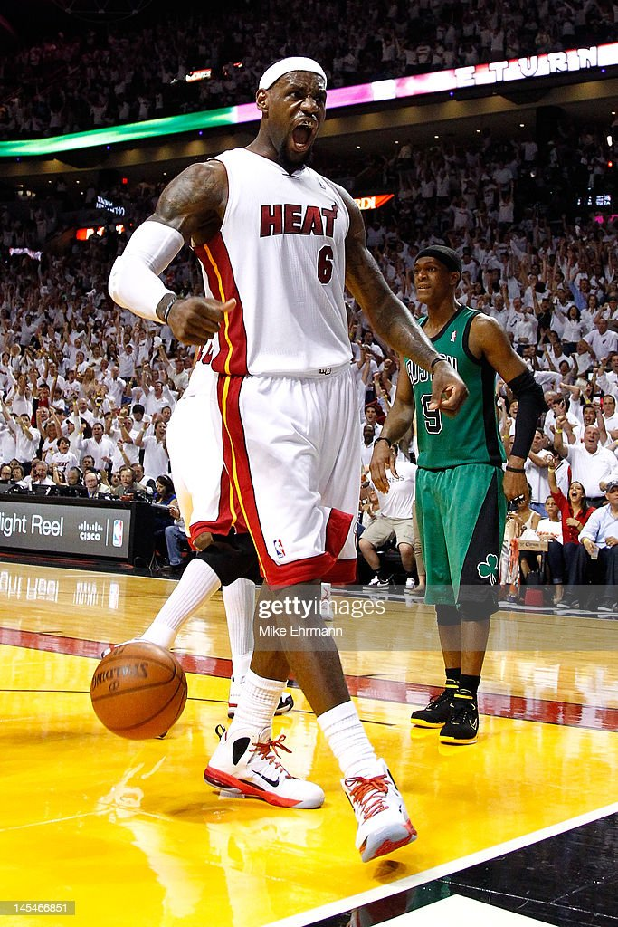 <a gi-track='captionPersonalityLinkClicked' href=/galleries/search?phrase=LeBron+James&family=editorial&specificpeople=201474 ng-click='$event.stopPropagation()'>LeBron James</a> #6 of the Miami Heat reacts in the second half against the Boston Celtics in Game Two of the Eastern Conference Finals in the 2012 NBA Playoffs on May 30, 2012 at American Airlines Arena in Miami, Florida.