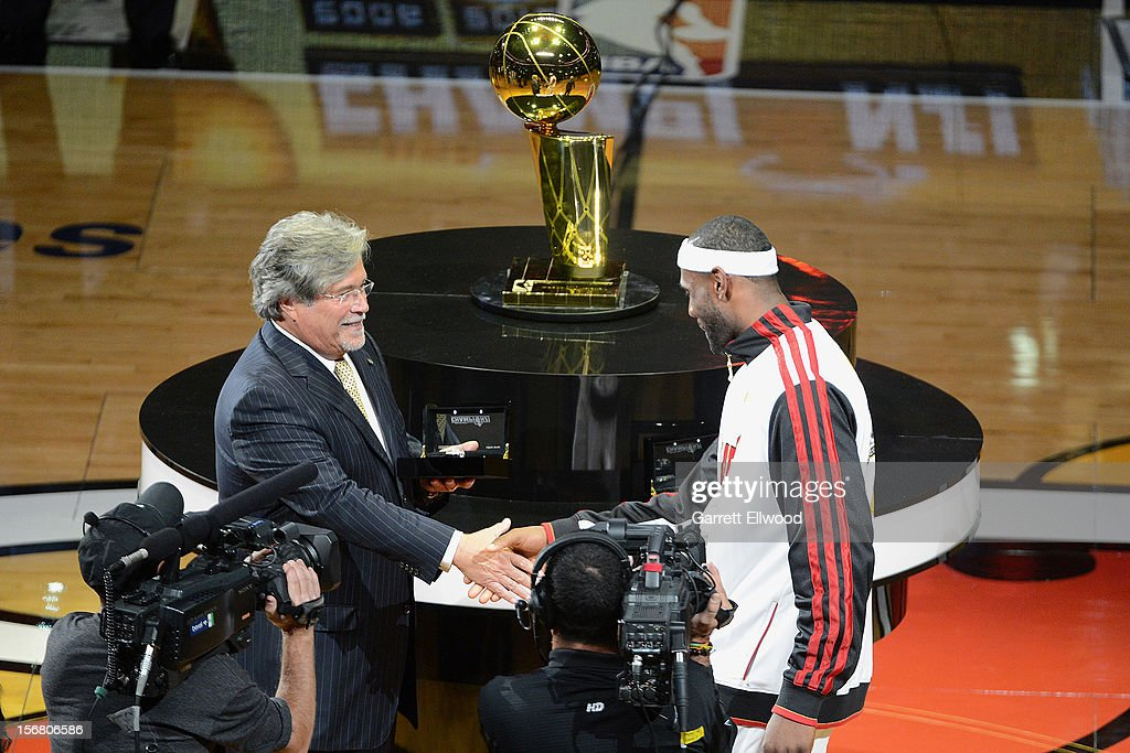 <a gi-track='captionPersonalityLinkClicked' href=/galleries/search?phrase=LeBron+James&family=editorial&specificpeople=201474 ng-click='$event.stopPropagation()'>LeBron James</a> #6 of the Miami Heat receives his 2012 Championship ring before the game against the Boston Celtics on October 30, 2012 at American Airlines Arena in Miami, Florida.