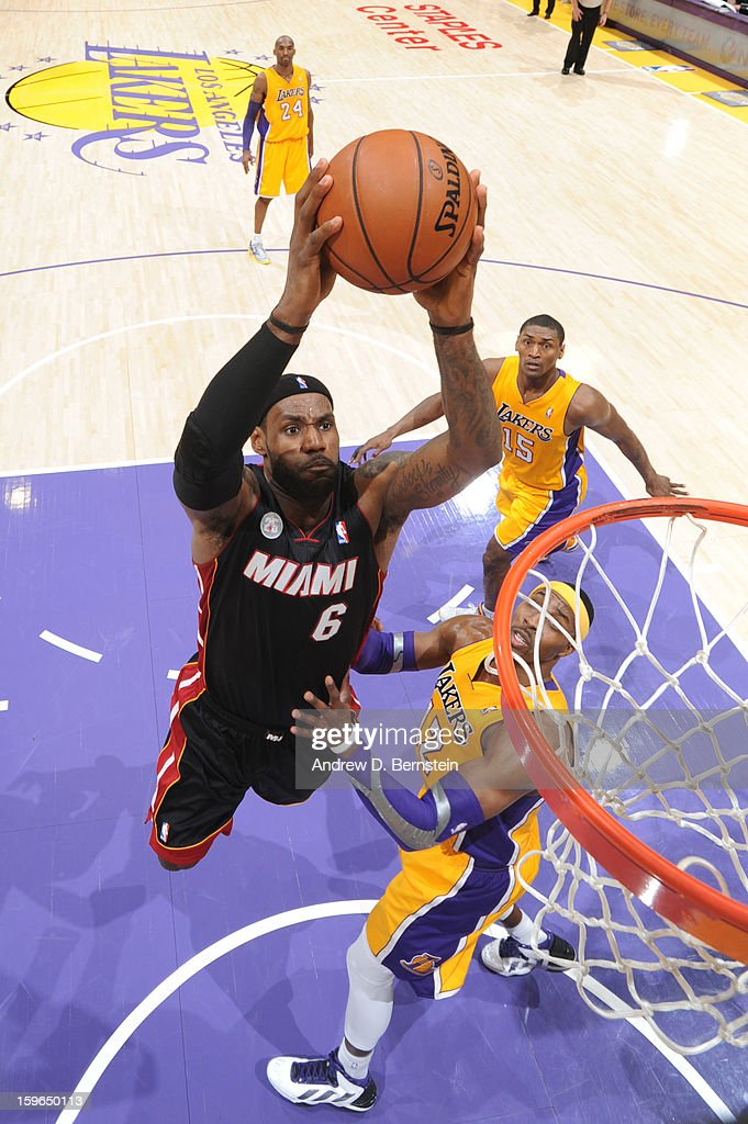 LeBron James #6 of the Miami Heat rises for a dunk against the Los Angeles Lakers at Staples Center on January 15, 2013 in Los Angeles, California.