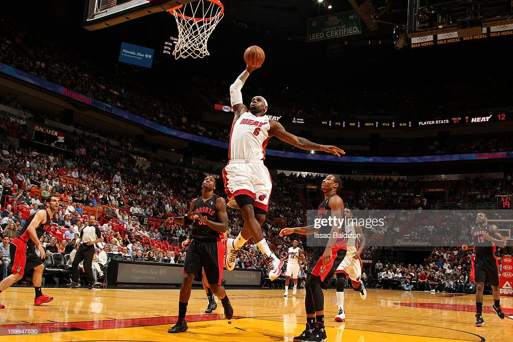 LeBron James #6 of the Miami Heat rises for a dunk against the Toronto Raptors on January 23, 2013 at American Airlines Arena in Miami, Florida.