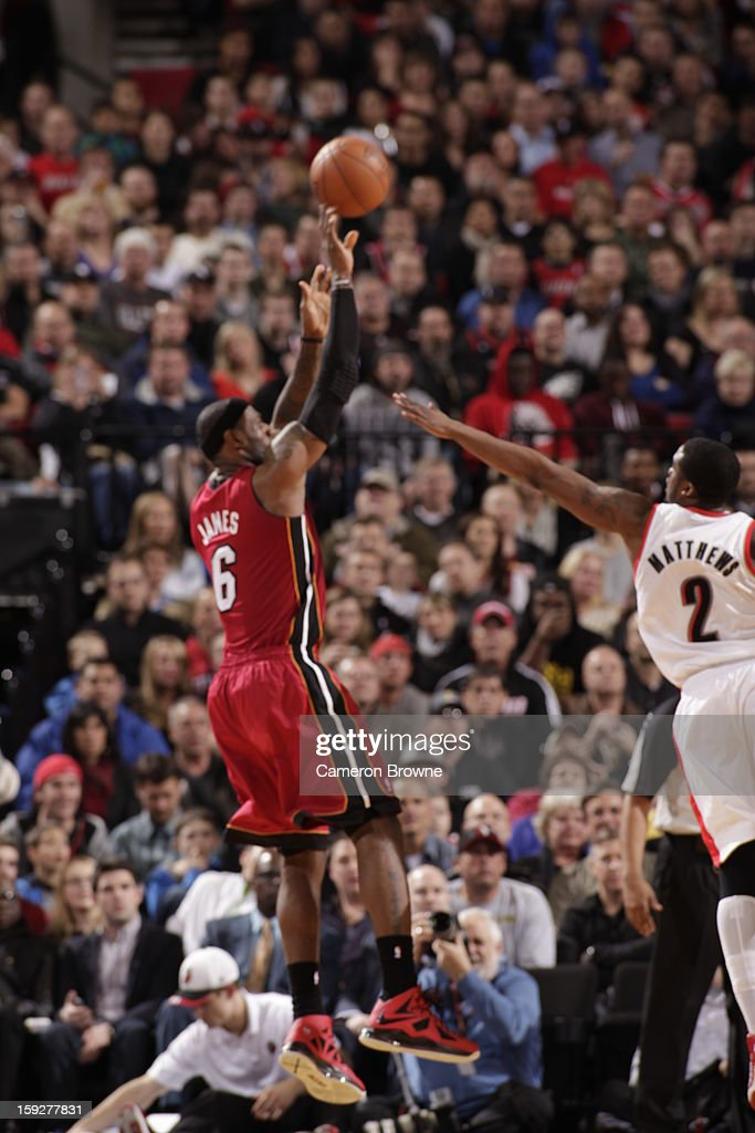LeBron James #6 of the Miami Heat shoots a fade away jump shot against the Portland Trail Blazers on January 10, 2013 at the Rose Garden Arena in Portland, Oregon.