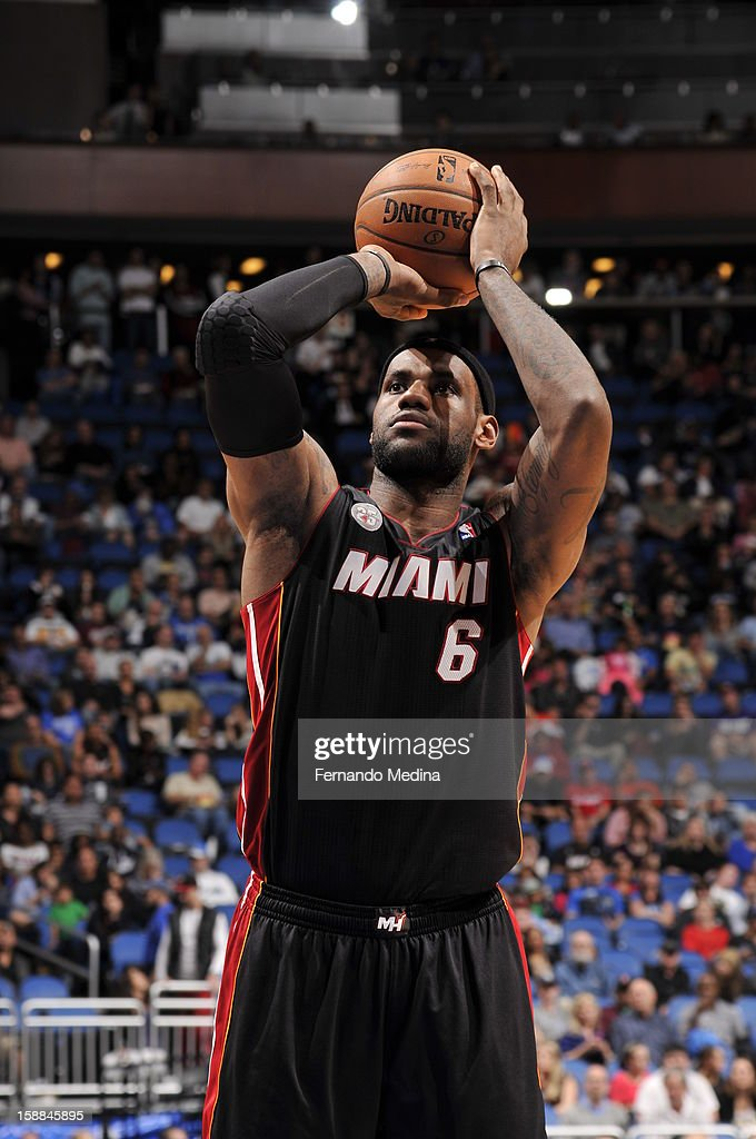 LeBron James #6 of the Miami Heat shoots a foul shot against the Orlando Magic during the game on December 31, 2012 at Amway Center in Orlando, Florida.