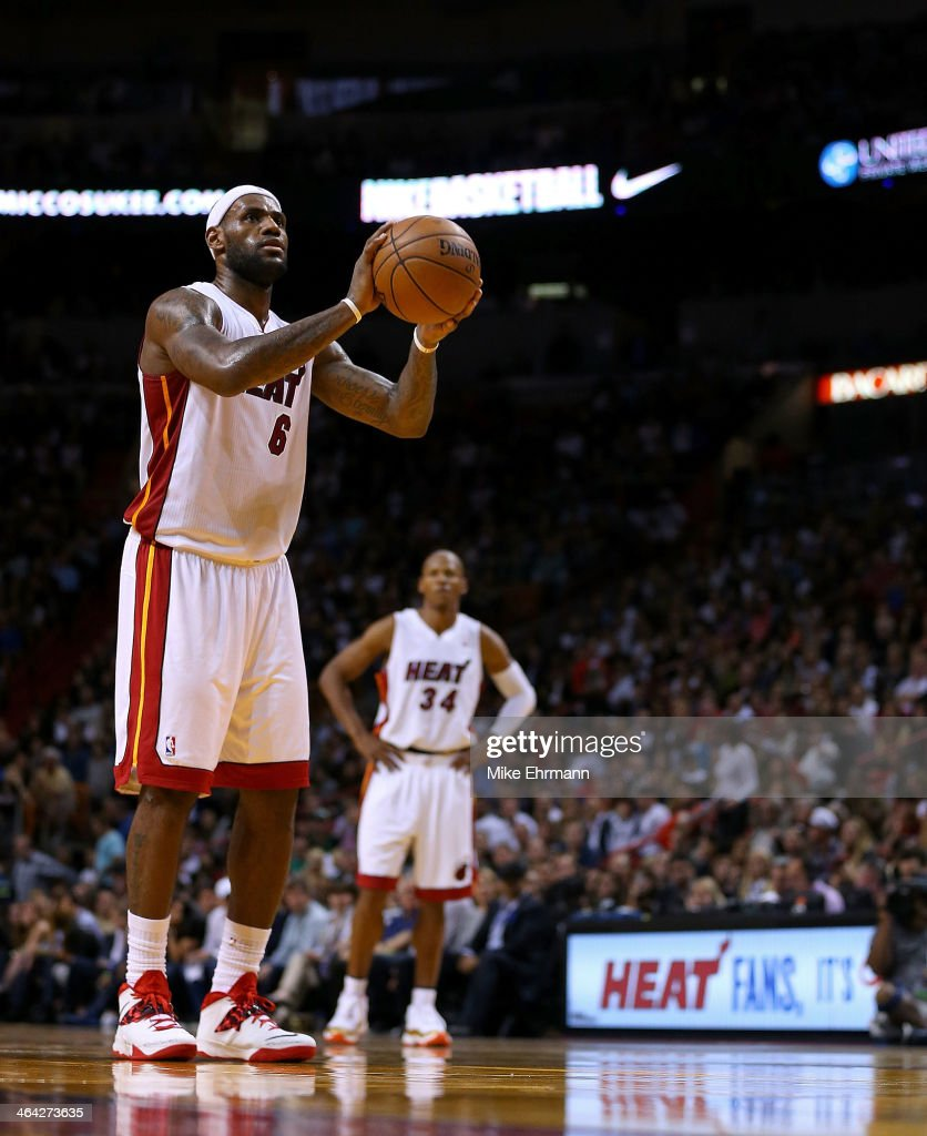 <a gi-track='captionPersonalityLinkClicked' href=/galleries/search?phrase=LeBron+James&family=editorial&specificpeople=201474 ng-click='$event.stopPropagation()'>LeBron James</a> #6 of the Miami Heat shoots a free throw during a game against the Boston Celtics at AmericanAirlines Arena on January 21, 2014 in Miami, Florida.