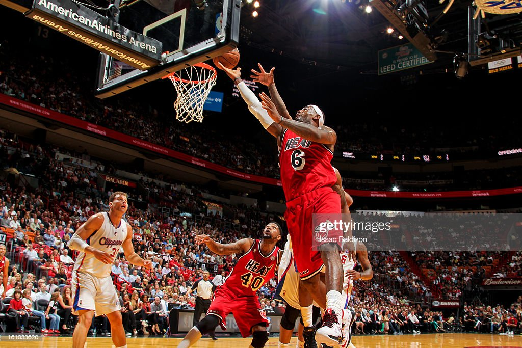 LeBron James #6 of the Miami Heat shoots a layup against the Los Angeles Clippers on February 8, 2013 at American Airlines Arena in Miami, Florida.