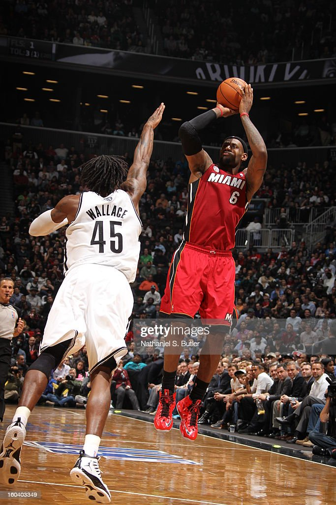 LeBron James #6 of the Miami Heat shoots against Gerald Wallace #45 of the Brooklyn Nets on January 30, 2013 at the Barclays Center in the Brooklyn borough of New York City.