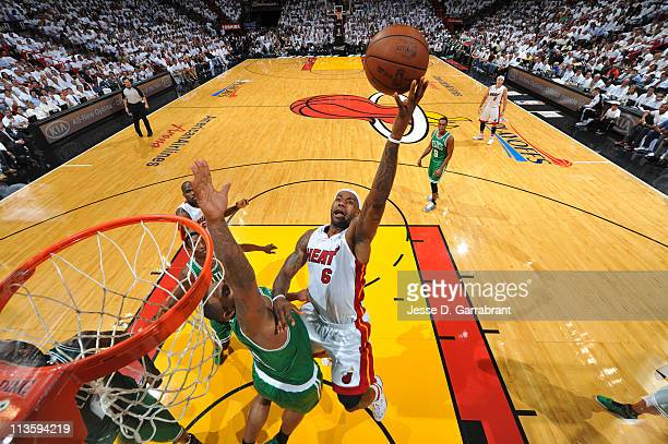 LeBron James of the Miami Heat shoots against Glen Davis of the Boston Celtics during Game Two of the Eastern Conference Semifinals in the 2011 NBA...