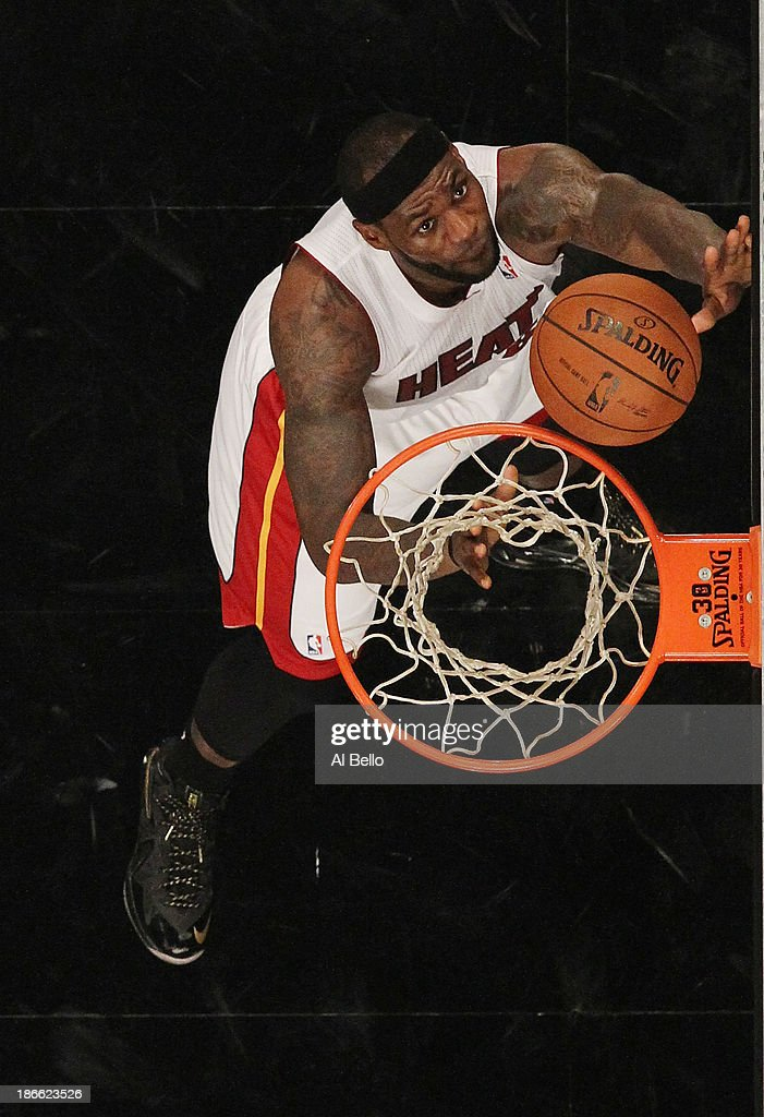 <a gi-track='captionPersonalityLinkClicked' href=/galleries/search?phrase=LeBron+James&family=editorial&specificpeople=201474 ng-click='$event.stopPropagation()'>LeBron James</a> #6 of the Miami Heat shoots against the Brooklyn Nets during their game at the Barclays Center on November 1, 2013 in the Brooklyn borough of New York City.