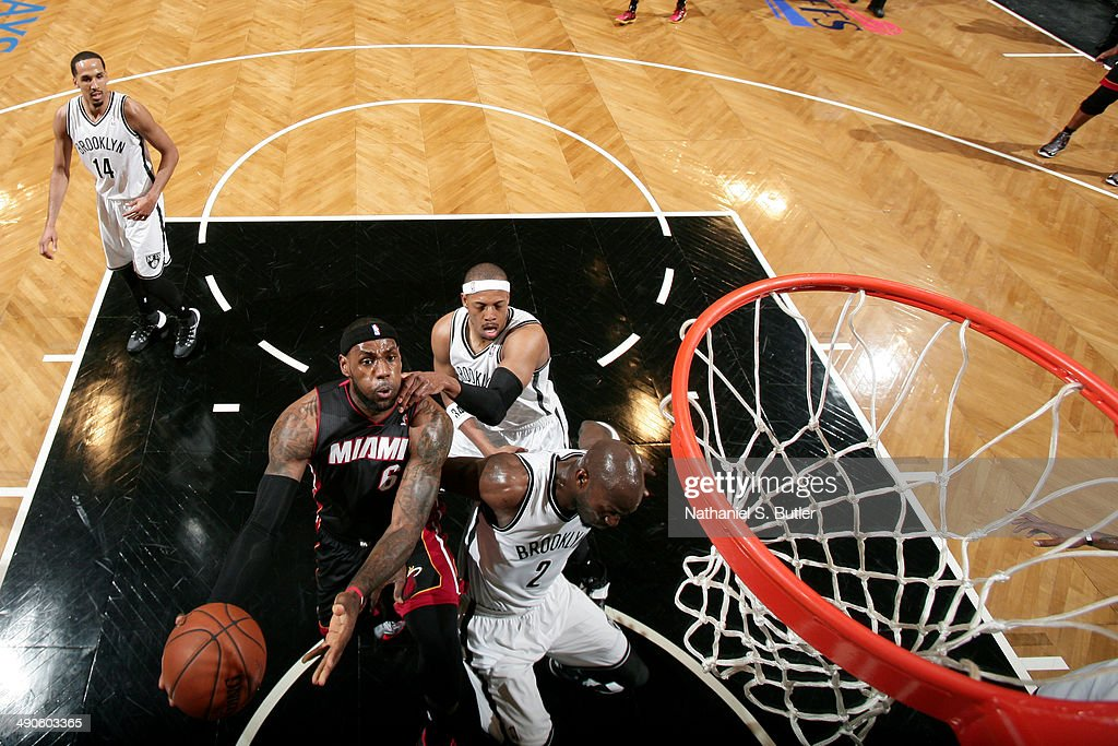 <a gi-track='captionPersonalityLinkClicked' href=/galleries/search?phrase=LeBron+James&family=editorial&specificpeople=201474 ng-click='$event.stopPropagation()'>LeBron James</a> #6 of the Miami Heat shoots against the Brooklyn Nets during Game Three of the Eastern Conference Semifinals on May 10, 2014 at Barclays Center in Brooklyn.